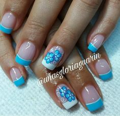 Floral and Colored French tips mani