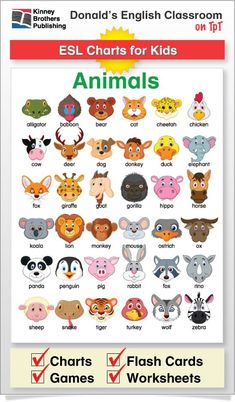 Pin this ESL Animal Chart onto a classroom board or directly into students' notebooks for a reference they'll return to again and again! Learning English For Kids, English Worksheets For Kids, Kids English, English Activities, English Language Learning, Teaching English, Learn English, English Phonics, English Verbs