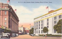 El Paso, Texas, San Antonio Street - Linen Postcard -Unused (U) by postcardsofthepast on Etsy https://www.etsy.com/listing/457022670/el-paso-texas-san-antonio-street-linen