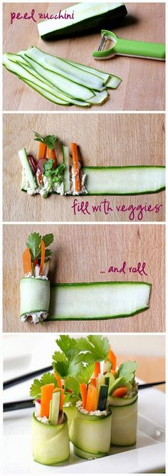 "Since sushi is the go yo food of college and university students. This seems like a good way to get in your veggies. Roll up your salad into raw zucchini ""sushi"" rolls. Fresh and delicious! Raw Food Recipes, Cooking Recipes, Healthy Recipes, Sushi Recipes, Chef Recipes, Chicken Recipes, Sandwich Recipes, Yummy Recipes, Cooking Tips"