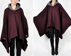 Deep purple and grey wool pullover cape. Shaped cloak-like hood. Asymmetrical hem. Very warm! MEASUREMENTS  Label: None  Composition: Wool