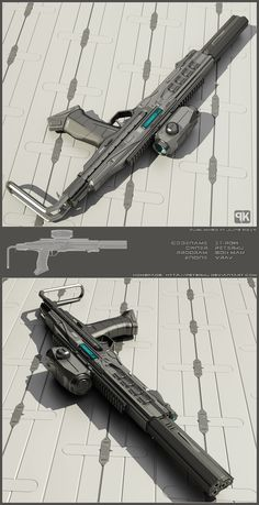 Concept of sci fi PDW I did time ago for fictional scenario. It is supposed to use battery socketed inside grip, no bullets. It-pdw Sci Fi Weapons, Weapon Concept Art, Zombie Weapons, Fantasy Weapons, Weapons Guns, Futuristic Armour, Futuristic Art, Futuristic Technology, Rpg Cyberpunk