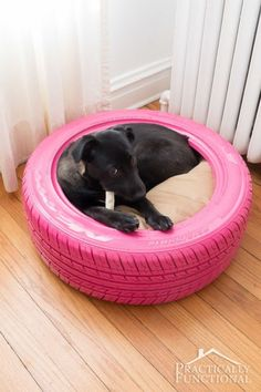 Stuff a pillow inside for your pup to cozy up against, then toss it in the washer and hose down the tire to clean.