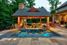 How to Update Your Backyard to Entertain at Night - Luxury Pools + Outdoor Living Backyard Pavilion, Backyard Pool Landscaping, Backyard Pool Designs, Small Backyard Pools, Swimming Pools Backyard, Landscaping Ideas, Outdoor Pavilion, Swimming Pool Designs, Outdoor Living Patios