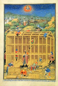 A page from the Bedford Hours made in Paris in the early 15th century for John, Duke of Bedford and his wife, Anne of Burgundy, and later presented by them to Henry VI. Bedford, younger brother of Henry V, acted as Regent of France. This miniature is by another hand than the main artist and depicts the building of an elaborate ark. Above, God surveys a scene that includes the sea thick with shipping and on land what seems to be the assembling of animals for the ark