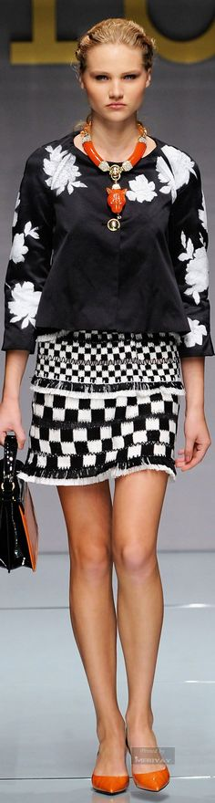 Roccobarocco - Spring Summer 2015: love the skirt, shoes, and jewelry -- the top not so much. CB