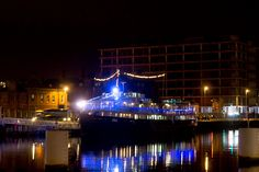Dublin Docklands At Night - Near The Samuel Beckett Bridge - Floating Restaurant [The Streets Of Ireland]