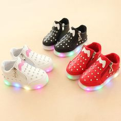 New 2017 High quality hot sales Zip fashion baby casual shoes LED lighting  baby girls boys 43b24e23d6fd