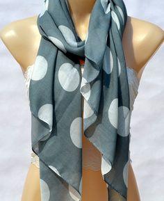 The fashion leisure cotton scarf grey Polka Dot scarf by xyuezw, $13.00
