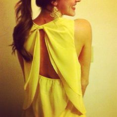 Yellow shirt with open back