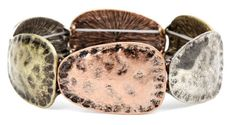 Oval Disk Mixed Metal Bracelet.  Item #PB0106OMT  Available at Impulse Gifts 812.481.2880 We ship daily.   https://www.facebook.com/ImpulseJasper