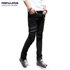 34.90$  Know more - http://aiqim.worlditems.win/all/product.php?id=32660833392 - Port&Lotus Fashion Casual Jeans New Arrival With Zipper Fly Solid Color Midweight Pencil Pants Slim Fit Jeans Men 086 wholesale