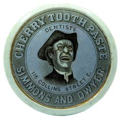 """ABCR Auction Preview """"Laughing Parson"""" actually a Town Crier Simmons & Dwyer Melbourne Tooth Paste Pot Lid 1880s-1890s"""