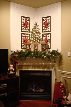 Christmas decor - mantle love the wrought iron over it.