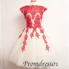 Elegant red lace short vintage homecoming dress