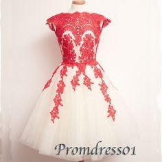 Elegant red lace short vintage homecoming dress