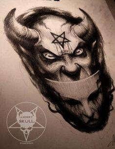 masks by AndreySkull on DeviantArt Satanic Tattoos, Evil Tattoos, Satanic Art, Skull Tattoos, Sleeve Tattoos, Dark Art Tattoo, Demon Tattoo, Mask Tattoo, Tatoo Art