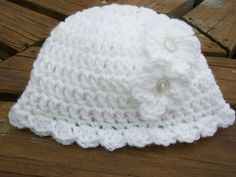 Baby Girl Hat/Beanie  Hand Crocheted  Newborn  0-3 Months  White Yarn Embellished With 2 White Flowers And Ruffled Edge  READY TO SHIP by ShariBabyCrochet on Etsy