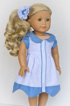 Blue collared, striped dress by AnnasGirls on Etsy. Made with the Bluebelle Dress pattern, found here http://www.pixiefaire.com/collections/melody-valerie-couture/products/bluebelle-dress-18-doll-clothes. #pixiefaire #bluebelledress