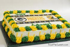 Greenbay Packers Sheet Cake Wedding Sheet Cakes, Birthday Sheet Cakes, Wedding Cake, Packers Cake, Greenbay Packers, Decorating Cakes, Cake Decorating Techniques, Cake Cookies, Cupcake Cakes