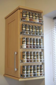 Beside the Cabinet Wall Mounted Spice Rack with Wire Materials to Made the Rack Frame also Five Space to Save the Spice Jars for Wall Hanging Kitchen Accessories Decorating Ideas