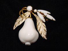 Vintage Austria Pin White Milk Glass Pear