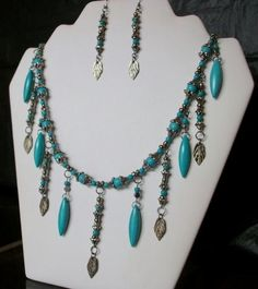 Turquoise Howlite Dagger and Round Howlite with Gun Metal Leaf Bead Dangle Necklace and Earring Set: Beaded Jewelry Sets, Beaded Jewelry by CulbertsCreations on Etsy