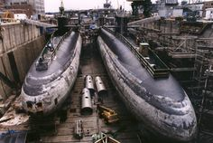 Dismantling Nuclear Submarines..Boat on right front there is 2nd boat USS George Washington Carver SSBN-656, in her last days while Undergoing Submarine Recycling at Puget Sound Naval Shipyard.