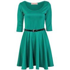 KrispBASIC 3 4 Length Sleeve Belted Jade Green Skater Dress ( 4.46) ❤ liked 0064b7faf