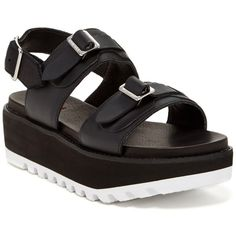 Hunter Original Double Buckle Mid Flatform Leather Sandal ($140) ❤ liked on Polyvore featuring shoes, sandals, black, open toe sandals, leather slingback sandals, black shoes, leather buckle sandals y black buckle sandals