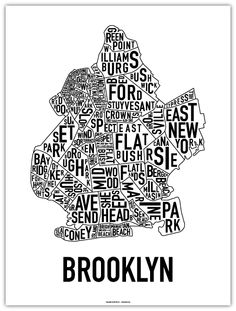 Classic Black + White Brooklyn Map by Ork Posters