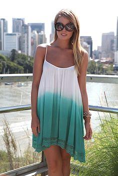 Teal Ombre Sleeveless Asymmetric Dress with Crochet Hem