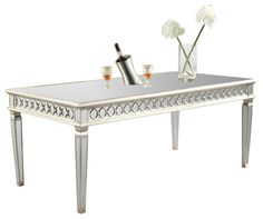 Chic Silver Dining Tables Audrey Dining Table Elegant Lighting Silver Leaf Finish