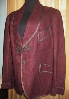 Vintage 1920's 30's 40's Men's Burgundy Wool Blazer Gatsby Deco Smoking Jacket | eBay