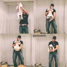 """Lion King"" - Dean Ambrose as he lifts the puppy in the air"