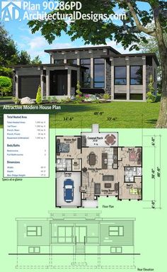 Architectural Designs Modern House Plan 90286PD Has A Window Filled Facade  And A Covered Porch
