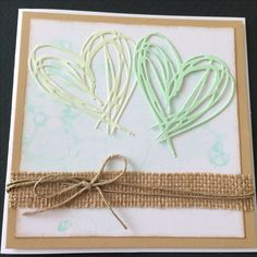 Kort / card Hjerter / hearts  Hessian Bryllup / wedding