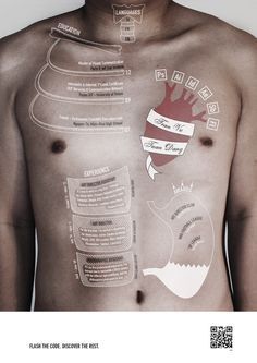 ANATOMY CV.  Although I think the feeling that this graphic provokes seems a tad too dramatic for it's topic, it certainly is a very creative way to express a resume. Vu-Tuan-Dang Tran, the designer, wanted his CV (resume) to come from inside of him and decided to write it on his flesh and bones.