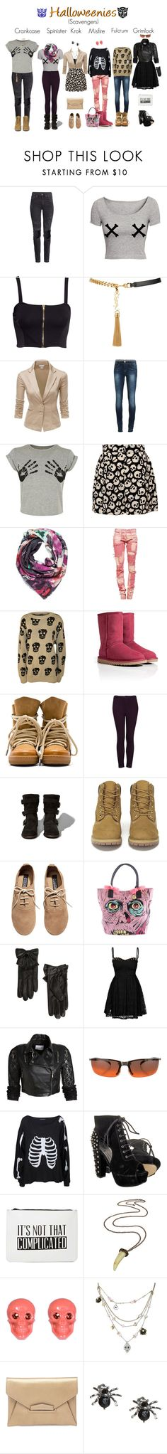 """Halloweenie scavengers"" by femme-mecha ❤ liked on Polyvore featuring H&M, Yves Saint Laurent, Doublju, Philipp Plein, BeckSöndergaard, Isabel Marant, CO, UGG Australia, Topshop and Abercrombie & Fitch"