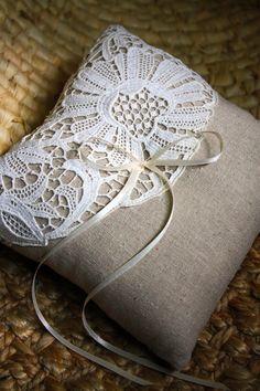 Vintage lace and burlap