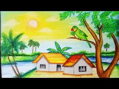 How to draw pastel Landscape.Step by step(easy draw) Easy Nature Drawings, Nature Drawing For Kids, Easy Scenery Drawing, Landscape Drawing Easy, Oil Pastel Landscape, Art Drawings For Kids, Easy Drawings, Landscape Paintings, Scenary Paintings
