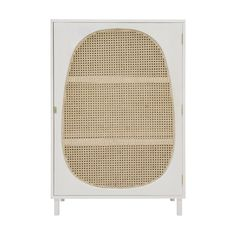A white and natural coloured retro webbing cabinet made of mango wood, MDF and cane. Vintage Industrial Furniture, Retro Furniture, Large Furniture, Living Furniture, Luxury Furniture, Home Furniture, Wooden Furniture, Armoire Design, Cabinet Design
