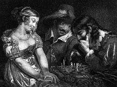"""Dipinto dal titolo """"Lo scacco matto è vicino"""", con chiaro riferimento alle imminenti nozze della coppia ritratta. È opera del pittore Alfred Edward Chalon (1780-1860) #Scacchi"""