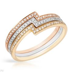 VIDA Brand New Ring With Genuine Clean Diamonds Well Made in 14K Three tone Gold