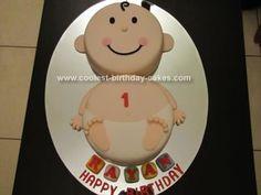 Diaper baby birthday cake