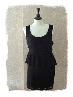 LBD womens size L mini lace #black dress sleeveless cocktail fancy occasion large #PinsandNeedles #NYE #LittleBlackDress