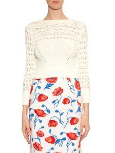 Open-back cotton-blend knit sweater   Oscar De La Renta   MATCHESFASHION.COM