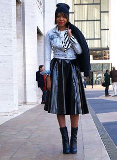 Leather skirt, crop denim, and red lipstick: StreetStyle NYFW