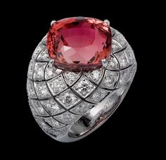 Precious Lines and Architectures – High Jewelry Ring White gold, one 14.27-carat cushion-shaped rubellite, brilliants.