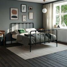 Home Bedroom, Master Bedroom, Bedroom Decor, Bedding Decor, Bedroom Ideas, Bedrooms, Metal Platform Bed, Platform Beds, King Size Bed Frame